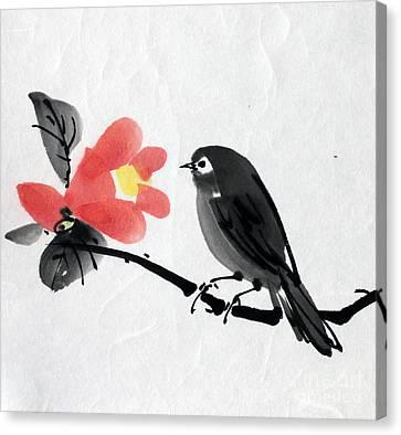 Camellia And A Little Bird Canvas Print