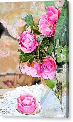 Camellia Bouquet Watercolor Canvas Print