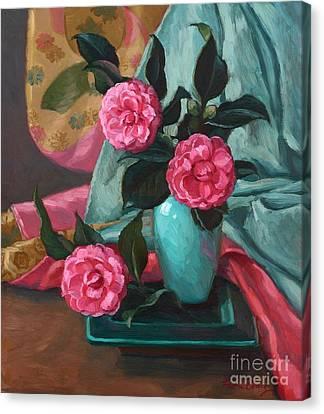 Camellias And Kimono Canvas Print by Fiona Craig