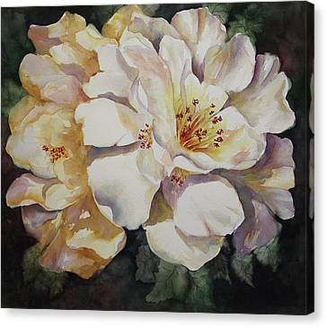 Canvas Print featuring the painting Camellias Golden Glow by Roxanne Tobaison