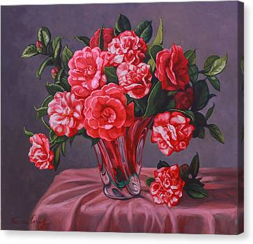 Camellias In Glass Vase Canvas Print by Fiona Craig