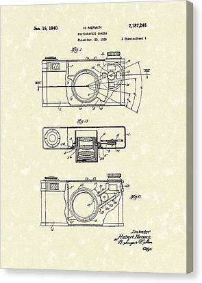 Camera 1940 Patent Art Canvas Print by Prior Art Design