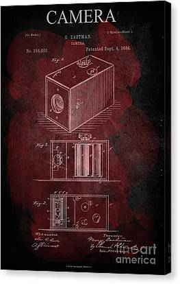 Technical Canvas Print - Camera - G.eastman Kodak. Patent 1888  -part 1  -red. by Prar Kulasekara