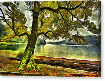 Cameron Lake Tree In Autumn Canvas Print by Mark Kiver
