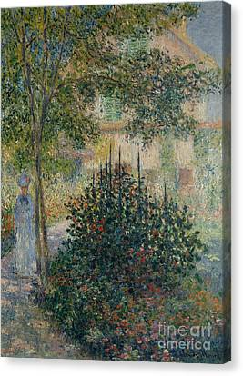 Camille Monet In The Garden At Argenteuil, 1876 Canvas Print by Claude Monet