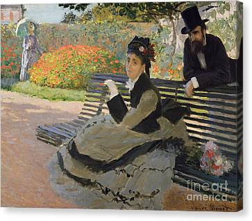Camille Monet On A Garden Bench, 1873 Canvas Print