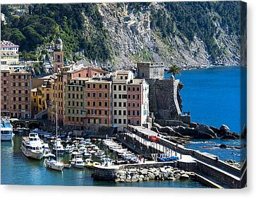 Camogli Harbour And Buildings View Canvas Print
