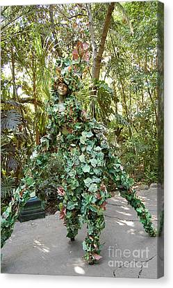 Camouflaged Tree Street Performer Animal Kingdom Walt Disney World Prints Canvas Print by Shawn O'Brien