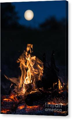 Camp Fire And Full Moon Canvas Print by Cheryl Baxter