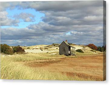 Canvas Print featuring the photograph Camp On The Marsh And Dunes by Roupen  Baker