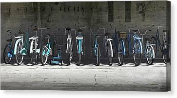 Campbell Blue Bike Rack Canvas Print by Cynthia Decker