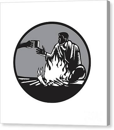 Camper Campfire Cup Of Coffee Circle Woodcut Canvas Print by Aloysius Patrimonio