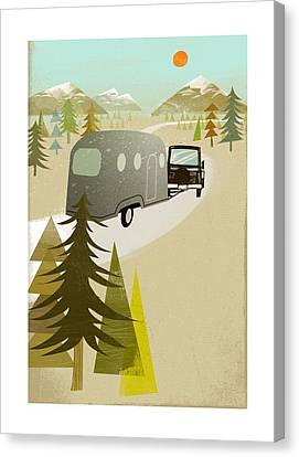 Camper Driving Into The Mountains Canvas Print