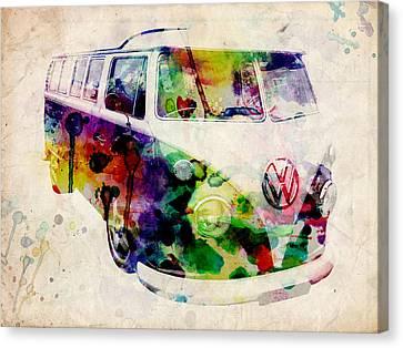 Camper Van Urban Art Canvas Print by Michael Tompsett