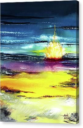 Campfire Canvas Print by Anil Nene