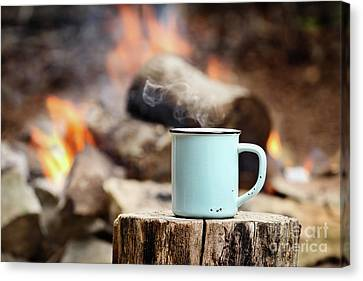 Campfire Coffee Canvas Print by Stephanie Frey