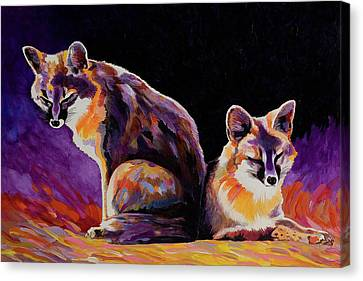 Canvas Print featuring the painting Campfire Surveillance Team by Bob Coonts