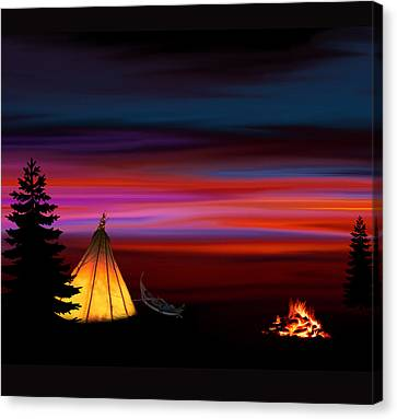 Mountain Cabin Canvas Print - Camping by Art Spectrum