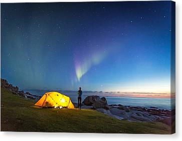 Camping Under The Northern Lights Canvas Print by Alex Conu