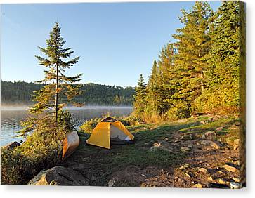 Campsite On Alder Lake Canvas Print by Larry Ricker