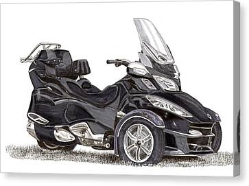 Canvas Print featuring the painting Can-am Spyder Trike by Jack Pumphrey