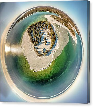 Canvas Print featuring the photograph Cana Island Lighthouse Little Planet by Randy Scherkenbach