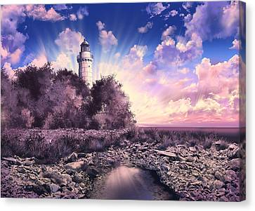 Surreal Landscape Canvas Print - Cana Island Lighthouse by Bekim Art