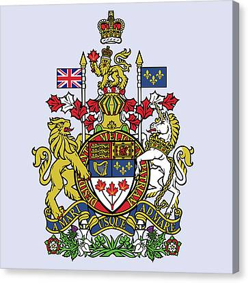 Canvas Print featuring the drawing Canada Coat Of Arms by Movie Poster Prints