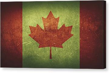 Canada Distressed Flag Dehner Canvas Print