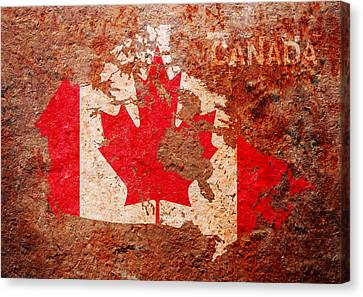 Maple Canvas Print - Canada Flag Map by Michael Tompsett