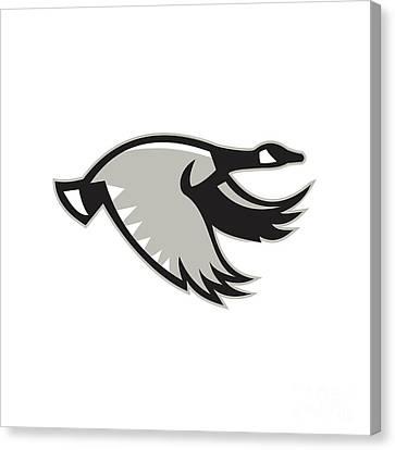 Geese Canvas Print - Canada Goose Flying Retro by Aloysius Patrimonio