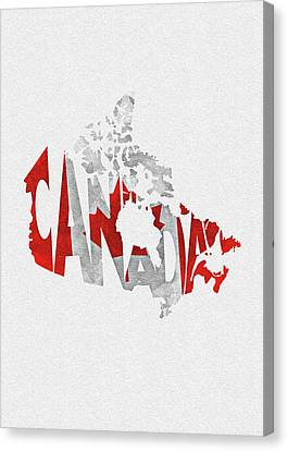 Dirty Canvas Print - Canada Typographic Map Flag by Inspirowl Design