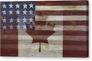 Canadian American Flag Canvas Print