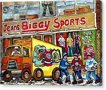 Canadian Art Street Hockey Painting Biggy Jeans Verdun Delivery Truck Winter Scene Carole Spandau    Canvas Print by Carole Spandau