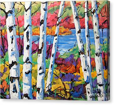 Canadian Birches By Prankearts Canvas Print by Richard T Pranke