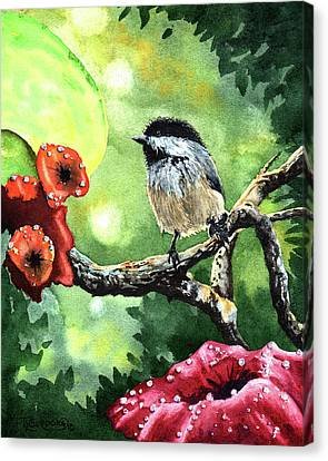 Canadian Chickadee Canvas Print by Timithy L Gordon