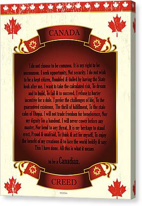 Canadian Creed On Scroll With Maple Leafs Canvas Print