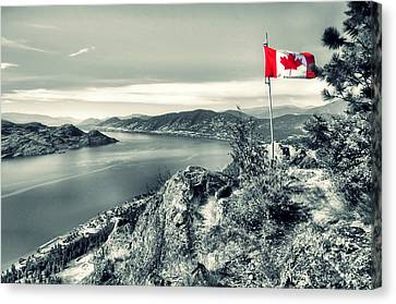 Canadian Flag On Pincushion Mountain Canvas Print