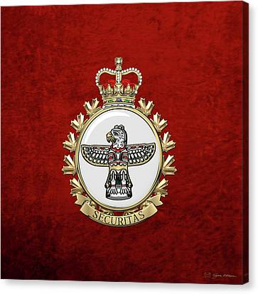 Police Art Canvas Print - Canadian Forces Military Police  -  C F M P Branch Badge Over Red Velvet by Serge Averbukh