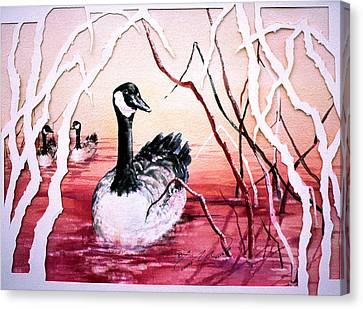 Canadian Geese Sunset Canvas Print by Connie Williams