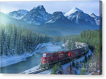 Canadian Pacific Railway Through The Rocky Mountains Canvas Print by Rod Jellison