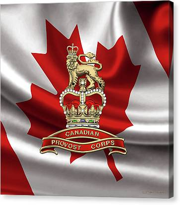 Canadian Provost Corps - C Pro C Badge Over Canadian Flag Canvas Print by Serge Averbukh
