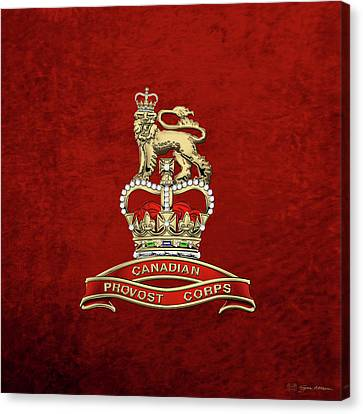 Canadian Provost Corps - C Pro C Badge Over Red Velvet Canvas Print by Serge Averbukh