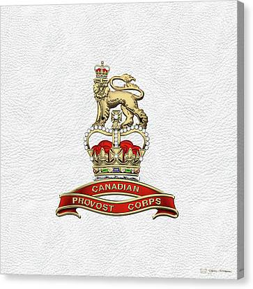 Canadian Provost Corps - C Pro C Badge Over White Leather Canvas Print by Serge Averbukh