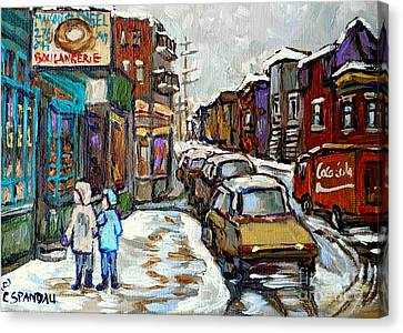 St.viateur Bagel Canvas Print - Canadian Winter Paintings Rue St Viateur Boulangerie Best Authentic Montreal Original Art by Carole Spandau