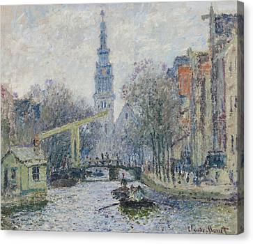 Canal Amsterdam Canvas Print by Claude Monet