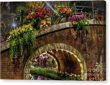 Canal And Bridge  Canvas Print by Sandy Moulder