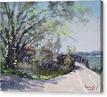 Canal At Niawanda Park Canvas Print by Ylli Haruni