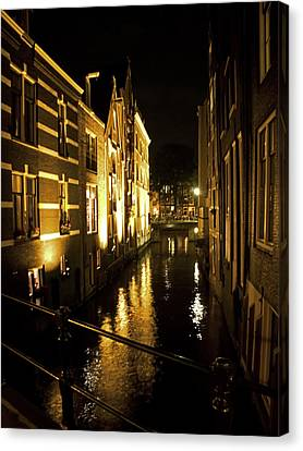 Canal At Night Canvas Print by Ron Dubin