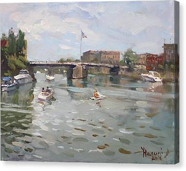 Canal At Tonawanda City Canvas Print by Ylli Haruni